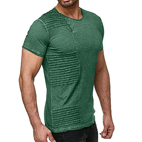 iHPH7 T-Shirt Men Performance Short-Sleeve T-Shirt Summer Mens Fashion Casual Solid Color Pleated Short Sleeve T-Shirt Blouse Top L Green