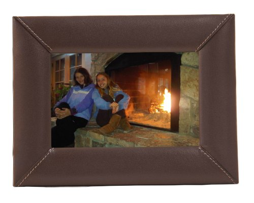 Leather Frame - Dacasso Chocolate Brown Leather Picture Frame, 4 by 6-Inch