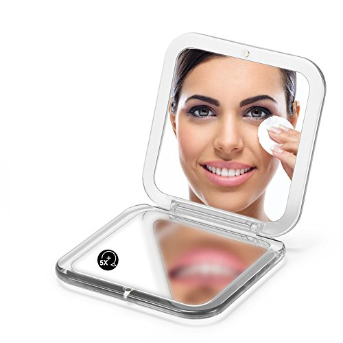 SQUARE COMPACT MIRROR, Double Sided PMMA Travel Makeup Mirror with 1x/5x Magnification and assorted colors (SILVER)