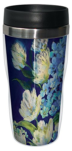 Tree-Free Greetings sg23711 Hydrangea Arrangement by Nel Whatmore Travel Tumbler, 16-Ounce