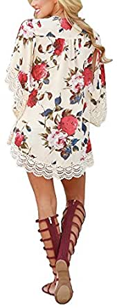 Women's Floral Print Kimono Lace Hemline Loose Tops Sleeves Cover Up Chiffon Blouse
