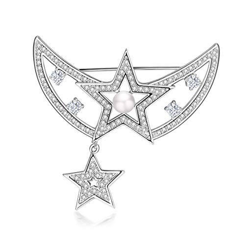 Yonhi Brooch Pins for Women Vintage Flower Brooch Pins for Women Wedding Party Jewelry Brooch Pin Silver (Silver Star ()