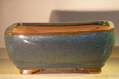 Bonsai Boy's Blue Green Ceramic Bonsai Pot - Rectangle 10 x 8 x 4 - Bonsai Pottery