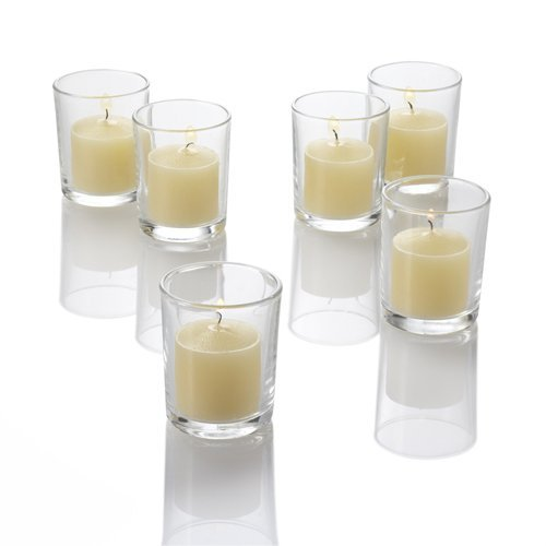 Richland Set of 144 Ivory Votive Candles and 144 Eastland Votive Holders