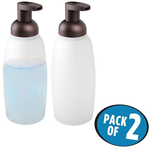 mDesign Foaming Glass Soap Dispenser Pumps for Bathroom Counter, Vanity- Pack of 2, Frost/Bronze (Glass Counter Vanity)