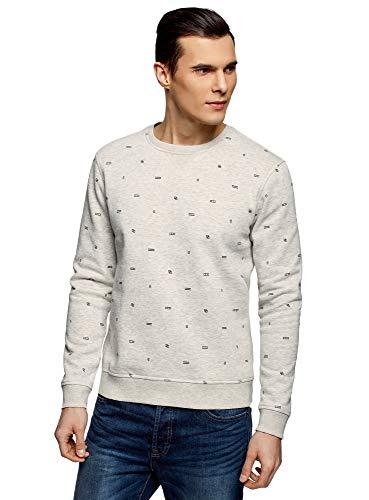 oodji Ultra Men's Printed Crew Neck Sweatshirt, White, US 42-44 / EU 52-54 / L