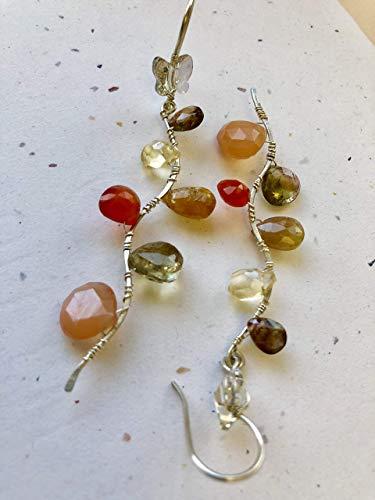 Green Tourmaline Fall Colors Silver Vine Twig branch Swarovski butterfly drop Earrings by Gem Bliss Jewelry