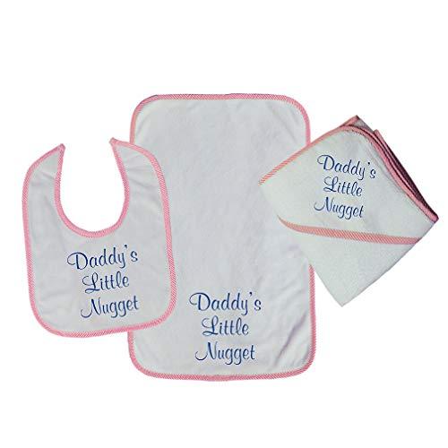 Daddy'S Little Nugget Cotton Boys-Girls Baby Bib-Burb-Towel Set - Soft Pink, One ()