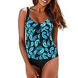 Kaitobe Women's Brazilian Sexy Two Piece Tankini V-Neck Swimsuit Print Knot Bathing Suit Swimwear Beachwear Blue