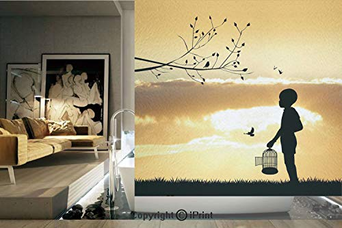 (Decorative Privacy Window Film/Little Child Silhouette with a Bird Cage at Sunset in Forest Rural Trees Birds/No-Glue Self Static Cling for Home Bedroom Bathroom Kitchen Office Decor Marigold Black)