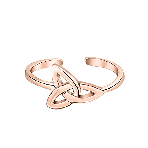 14k Ring Celtic Toe (SVC-JEWELS Triquetra Celtic Knot Midi Ring 14K Rose Gold Plated Adjustable Toe Ring)