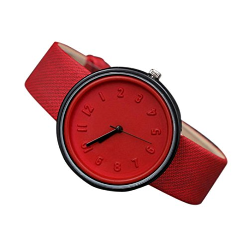 BESSKY Unisex Simple Number Quartz Canvas Belt Wrist Watch (33 mm, Red)