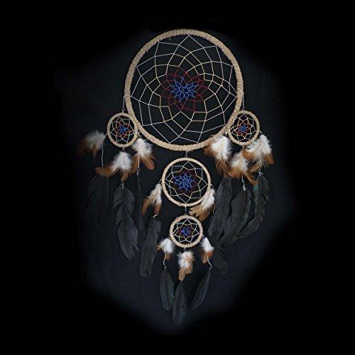 Traumfänger 35 x 60 cm Dreamcatcher Indianer, mit farbigem Netz und verschiedenfarbigen Federn