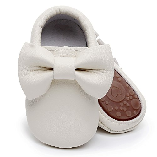(HONGTEYA Baby Moccasins with Rubber Sole - Flower Print PU Leather Tassel Bow Girls Ballet Dress Shoes for Toddler (Toddler/2-3 Years/US 9.5/6.29'',)