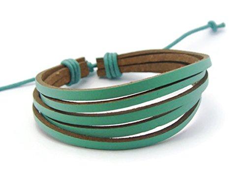 APECTO Mens Womens Genuine Leather Bracelet, Surfer Wrap Bangle (Mint Green), SB15 (Mint Leather Bangle)