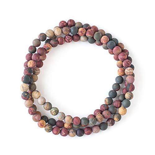 Cherry Blossom Beads Matte Red Cherry Creek Jasper 6mm Round Beads - 29 inch Necklace