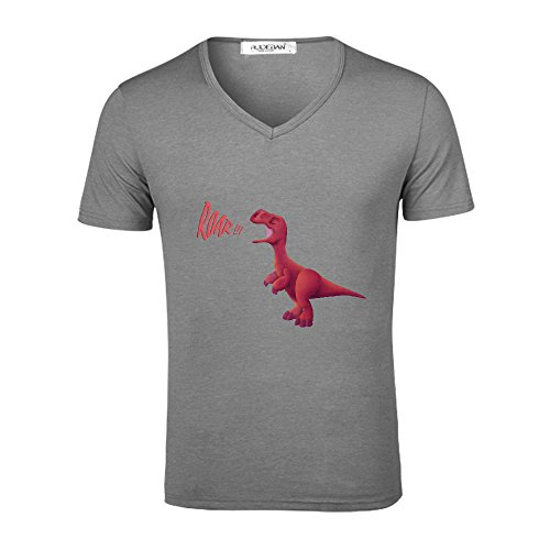 Price comparison product image Likeu Baby T Rex Pxm Men V Neck Graphic T Shirts Grey