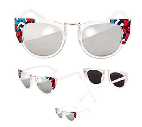 Lunettes en en Soleil Couleur Dentelle B de Reflective Lunettes B des de Sunglasses Soleil Color Lunettes Retro Coloré Forme Transparente de boîte dIwOHB