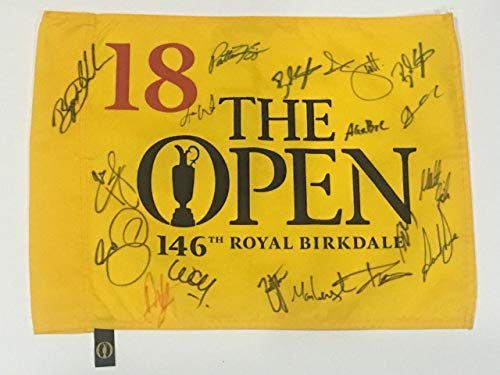 2017 British Open Field Signed Flag Royal Birkdale Jordan Spieth Day Proof - Autographed Golf Pin Flags