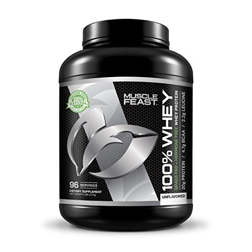 Blend of 100% Whey Protein | Grass Fed & Hormone Free | Blend of Concentrate, Isolate, and Hydrolyzed Whey Protein (5lb, Unflavored)