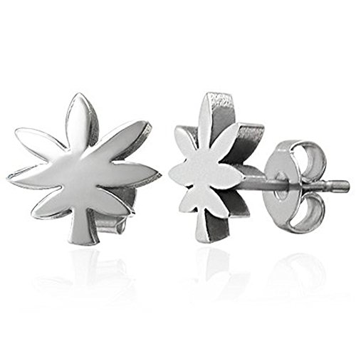 - Stainless Steel Ganja Stud Earrings