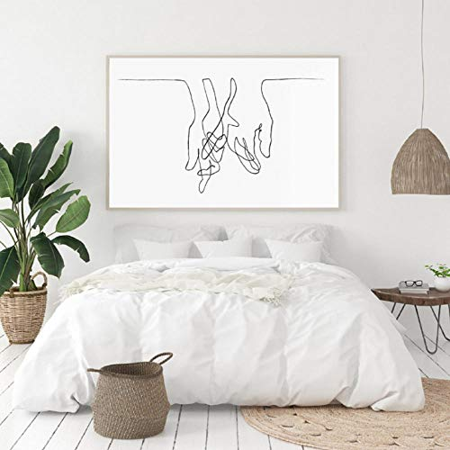 qscwdv Lover's Hands Line Drawing Inspired by Picasso Modern Poster Print Minimalist Face Artwork Sketch Canvas Painting Bedroom Decor 30X40Cm