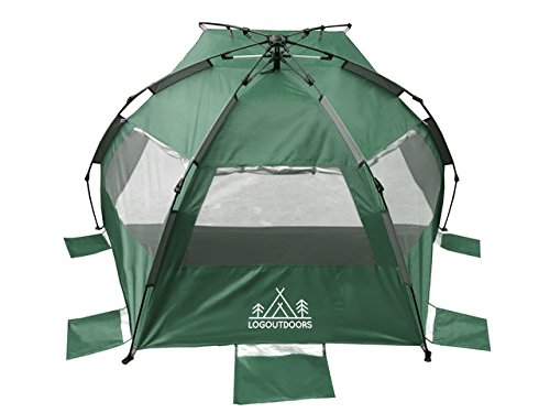 Pop Up Tent/Beach Tent/Sun Tent/Sun Shelter/Family Tent/Outdoor Tent/Camping Tent/Summer Tent Fits 3-4 Persons (Green)