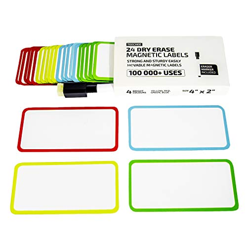 TeeChee Dry Erase Magnetic Labels (24) | Strong Fridge Magnets | Customizable Whiteboard Magnets | Reusable Write On Magnets | Eraser Marker Included | Label Size 4