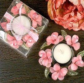 Elegant Frosted Pink Glass Flower Candle Holder