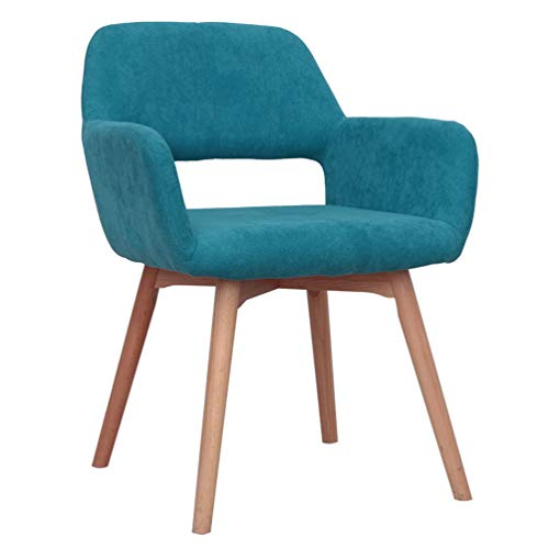 Modern Design Fabric Accent Chair Dining Chair W/Solid Wood Leg Living Room (Blue Set of 1)