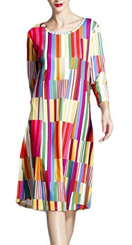 Jaycargogo Print 1 Neck Casual Sleeve Crew Shirt Loose 4 Dress Pattern 3 Midi T Women AYzR6qrA