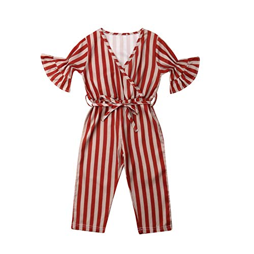 RoDeke Toddler Kids Baby Girl Stripes Bell-Bottom Short Sleeve Front Bow Jumpsuit Romper Long Pants Overalls Outfits Red ()