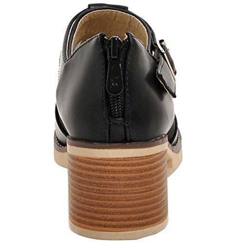 AIYOUMEI Damen Knöchelriemchen Blockabsatz Pumps mit 6cm Absatz und Schnalle Bequem Schuhe Schwarz
