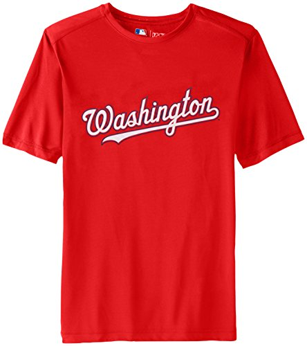 MLB Washington Nationals Men's Synth Mass Workmark Tee, Red, Medium