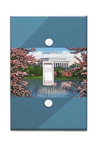 Washington DC - View of the Lincoln Memorial from across the Potomac, Cherry Trees (Light Switchplate Cover)