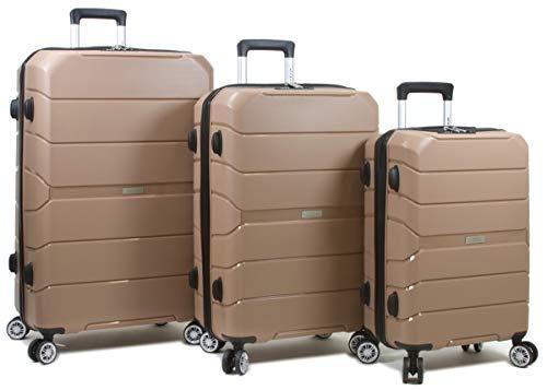Dejuno 25DJ-8292-PINK Ark Lightweight Hardside Spinner Luggage Set44; Pink – 3 Piece