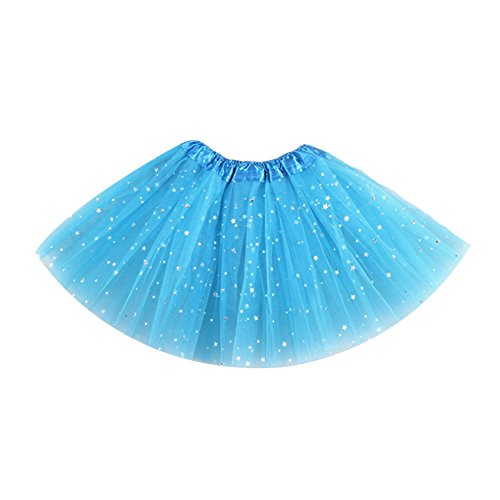 Losorn Kid Girls Dress Tutu Glitter Ballet Dress Triple Layer Soft Tulle Blue