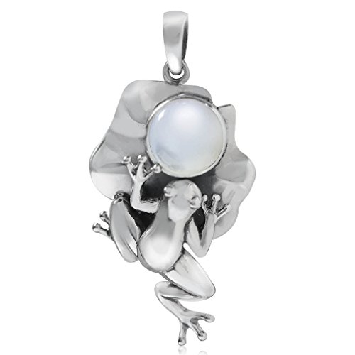 White Mother of Pearl 925 Sterling Silver Lotus Leaf & Frog Pendant