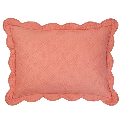 BrylaneHome Florence Solid Standard Sham, Ea. (Coral,Stand) ()