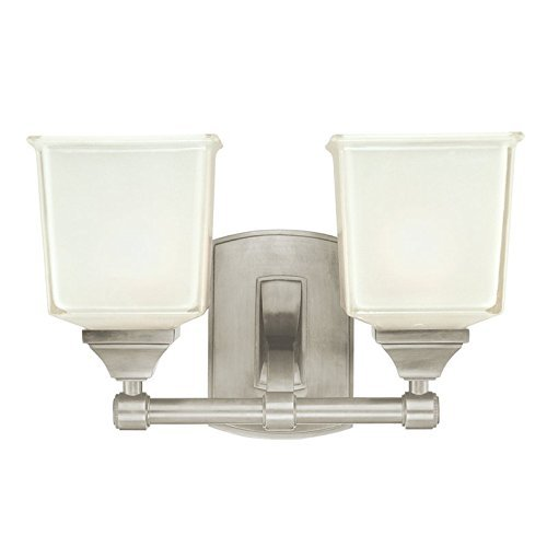 Hudson Valley Lighting Lakeland 2-Light Vanity Light - Satin Nickel Finish with Clear/Frosted Glass Shade by Hudson Valley - Satin Lakeland