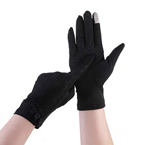 - Anti-UV Women's Sunscreen Sun Protection Gloves Lace Slip Summer Riding UV Sunscreen Sun Protection Gloves Breathable (Color : Black, Size : L-Eight Pairs)