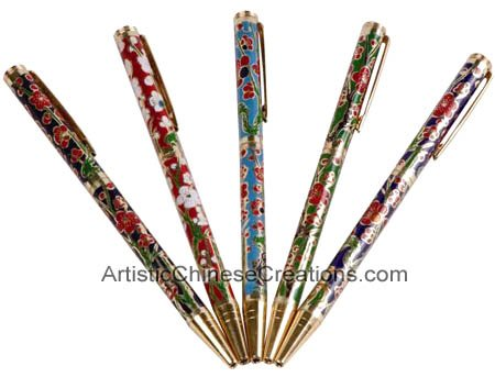Chinese Art / Chinese Gifts / Chinese Cloisonne Products - Stationery & Office: Chinese Cloisonne Pen Set - Flowers (Set of ()