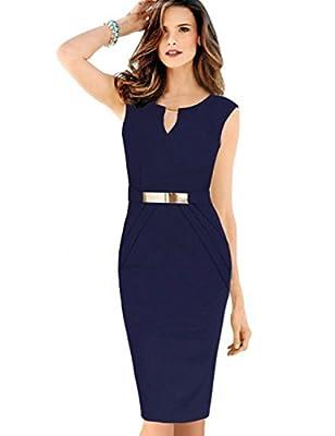 MisShow Women's Key-hole Gold Blet Wear to Work Casual Bodycon Dress