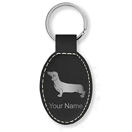 Oval Keychain, Dachshund Dog, Personalized Engraving Included (Black with Silver)