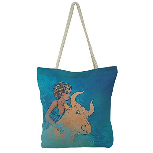 Handbag Cotton and linen shoulder bag Small and fresh literature and art,Taurus,Bull and Muse Spiritual Beauty Spring Season Elegance Horoscope Motif Decorative,Violet Blue Sand Brown,Picture Print De