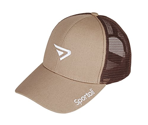 - Sportoli Adult and Kids Cotton Blend and Mesh Snapback Trucker Baseball Cap Hat - Khaki