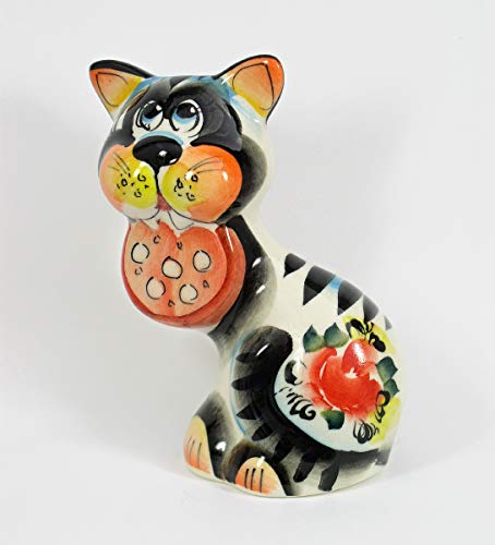 - RussianOrnaments Russian Porcelain Figurine CAT with Salami #0227
