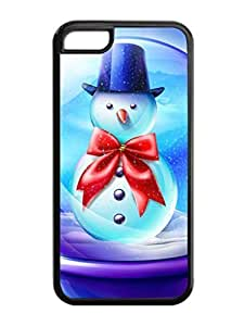 LJF phone case iphone 4/4s Case,Blue Hat Snowman With Red Bowknot iphone 4/4s TPU Silicone Cases