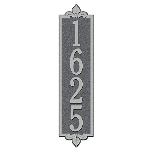 Whitehall Products Rectangular Lyon Estate Wall 1-Line Vertical Address Plaque - Pewter/Silver