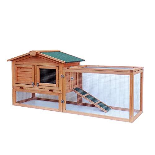 Feelfly Pet Animal Coop House,61″ Waterproof Two-Tier Wooden Rabbit Hutch Cage Chicken Bunny Hen Cage